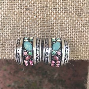 Vintage Beautiful Stone Half Hoop Wide Earrings